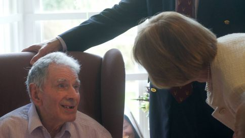 Jack Bissett celebrates his 100th birthday with a visit from Sir John and Lady McColl at Palm Springs Nursing Home. Picture: JON GUEGAN